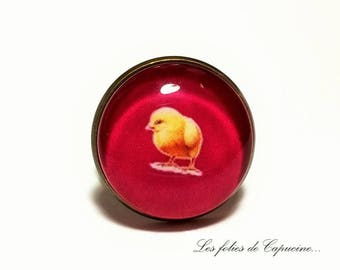 Ring Cabochon mother hen • •