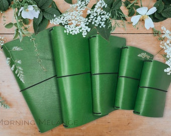 Green Traveler Midori Notebook Cover, Leather Cover, Fauxdori Leather Cover, Green Cover, Notebook Cover, Handmade Cover,Journal Cover