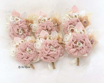 Wedding Boutonnieres Blush Pink Champagne Corsages Groomsmen Shabby Chic Buttonholes Rustic Elegant Vintage Wedding Bouts