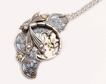 Steampunk Pendant Steampunk Necklace Steampunk Dragonfly Steampunk Jewelry Dragonfly Necklace Silver