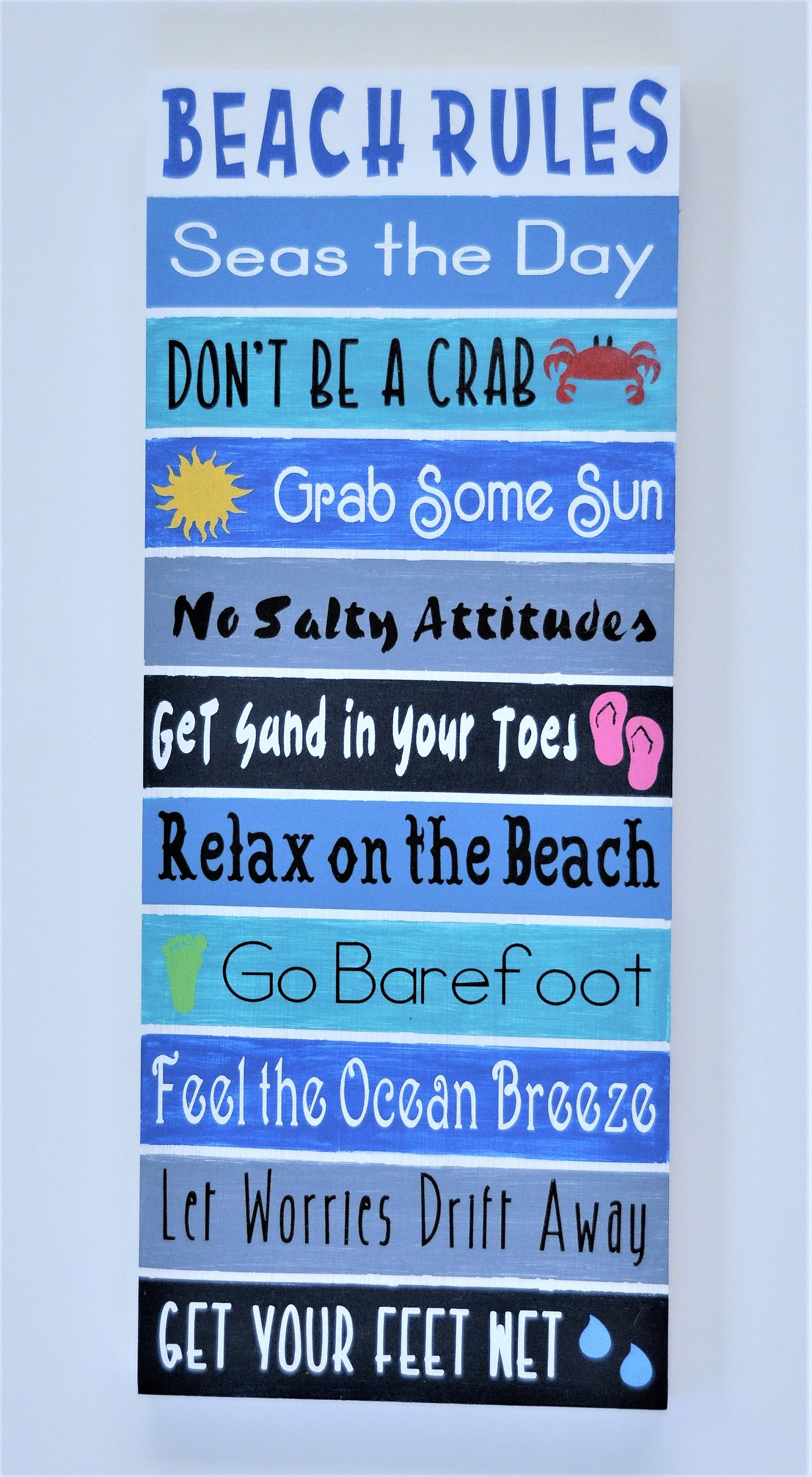 Warm Breezes Tropical Island Beach Rules Wood Painted Sign