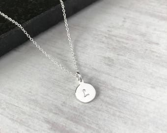 Sterling Silver Initial Disc Choker Necklace/Letter Necklace/Sterling Silver/Initial/Choker Chain/Delicate/Letter Charm/Everyday/Gift/uk