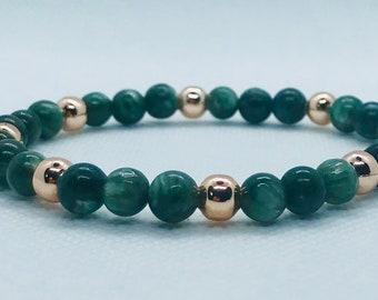Green seraphinite and rose gold gemstone bracelet
