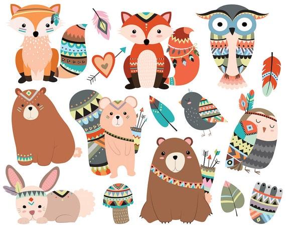 woodland tribal animals clipart 300 dpi vector png jpg rh etsy com tribal clip art borders tribal clip art borders