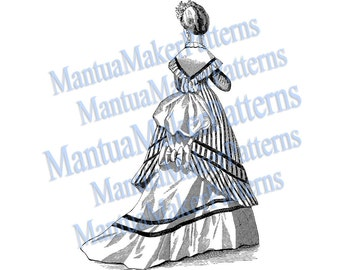 Victorian Ruffled Bustle Dress Engraving Clipart from 1870, JPEG and PNG Digital Download