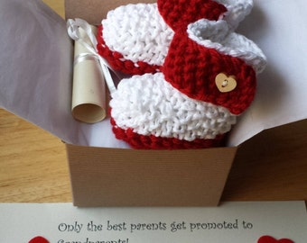 Pregnancy Announcement, Baby Booties, Mother day pregnancy reveal, Crochet Baby boots, Ship same day!