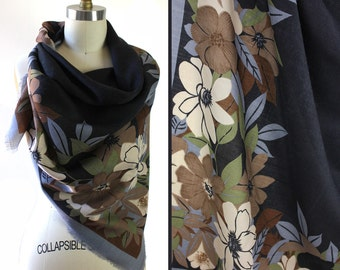Vintage Black Gray Green & Brown Floral Shawl Scarf