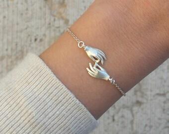 Hands bracelet in sterling silver handmade bracelet two hands bracelet friendship bracelet love bracelet hands jewelry - amejewels