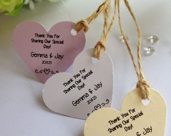 Personalised Mini Heart Tags for Wedding Favours - 6 Colours to Choose!