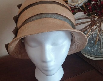 Vintage Natural Straw and Kakhi Netting Cloche Hat by John Frederics
