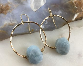 aquamarine polished nugget set on 14 k gold filled