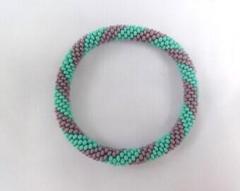 Purple and Aqua Crocheted Bracelet, Czech Seed Beads,Nepal, PB333