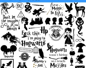 Harry Potter  SVG, Harry Potter big PACK of 87, Harry Potter clipart, Harry Potter bundle, Digital download svg, dxf, png, Potter vector