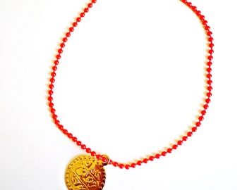 Red contemporary with medal gold plated BRACELET