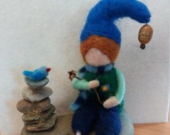 Miniature Zen felting 10 cm high.