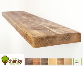 Rustic Floating Shelves | Solid Wood Wall Shelf | 22.5cm deep x 5cm thick | Funky Chunky Furniture Shelving | 9x2
