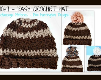crochet pattern hat, Easy Crochet HAT num  1067, by hectanooga on etsy. all sizes newborn to adult