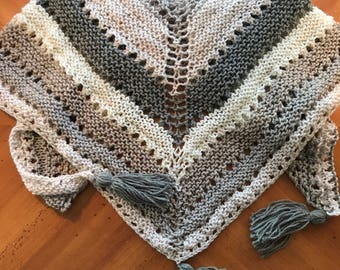 Knit triangle blanket scarf cowl // Chai Latte Knit Wrap with tassels // cream knit triangle blanket scarf // tassel wrap scarf //