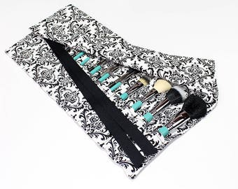 Black and White Damask print Large Makeup Brush Roll Holder Organizer - In Stock Ready To Ship