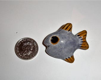Ceramic Fish Brooch Handmade Vintage Brooch Pin