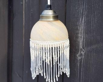 Beaded pendant light etsy beaded fringe lamp glass lamp shade pendant light ceiling light vintage lamp aloadofball Gallery