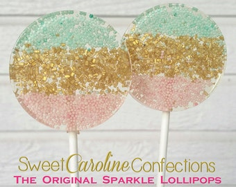 Pink Gold Aqua Lollipops, Ombre Sparkle Lollipops, Wedding Lollipops, Wedding Favors, Lollipops, Sweet Caroline Confections -6/Set
