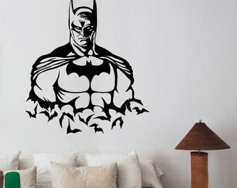 Batman Wall Decal Dark Knight Vinyl Sticker Superhero Art Marvel Comics Decorations for Home Bedroom Teen Kids Boys Room Bedroom Decor bat19