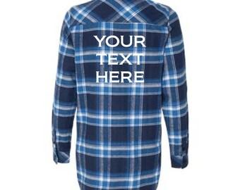 Custom Ladies Burnside Yarn-Dyed Flannel Shirt / Ladies Personalized Top / Custom Text / Personalized Flannel Top / Ladies Long Sleeve