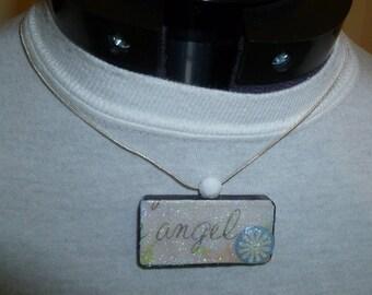 Angel Domino Glittered Pendant