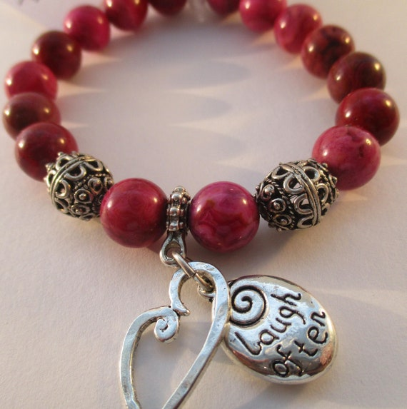 Ruby Crazy Lace Agate, Heart Charm and Laugh Often Love Much Charm Stretch Bracelet B626173