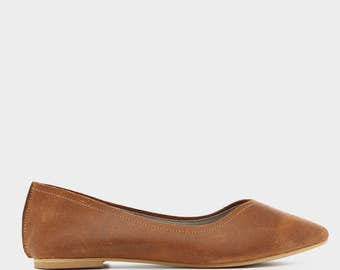 Camel Michal Pointed Toe Leather Flats, Handmade Leather Flats, Women's Leather Flat Shoes, Women Slip On Flats