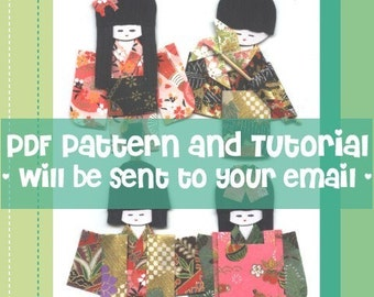 DIY Japanese washi kimono origami dolls, boys and girls / Patterns Tutorial in English / PDF Ebook Paper Doll Craft / Instant download
