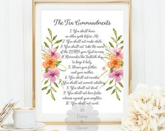 Ten commandments - Bible verse printable, printable typography poster, scripture print, wall decor, 10 commandments, Christian Scripture