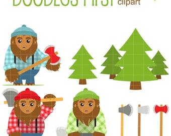Big Foot Lumberjacks Clip Art for Scrapbooking Card Making Cupcake Toppers Paper Crafts SVG Cuts