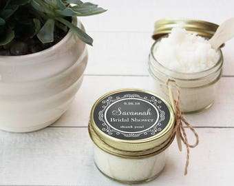 Set of 12- 4oz - Sugar Scrub Bridal Shower Favor - All-Natural, Vegan - Chalkboard Label // Rustic Shower Favor // Mason Jar Favor
