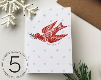 Set of 5 Christmas Cards with Envelopes - Peace & Love - Greeting Card, Dove, Snowflake, Holiday Card, White, Red, Green