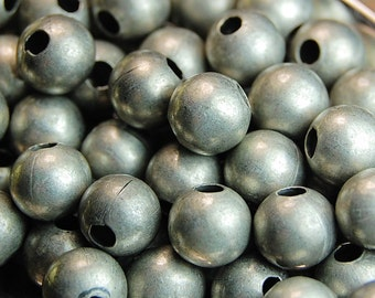 Antique Silver finish Beads, 4mm round -100