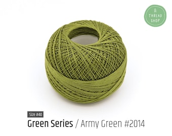 Cotton Thread Size #40 - Army Green #2014 - Green Series - VENUS Crochet Thread - 100% Mercerized Cotton Thread
