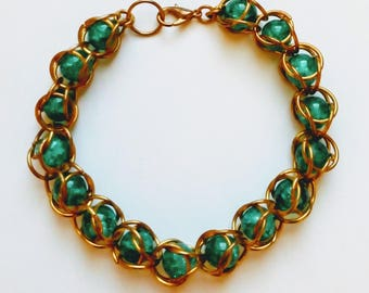 Chain Maille Emerald Green Bracelet