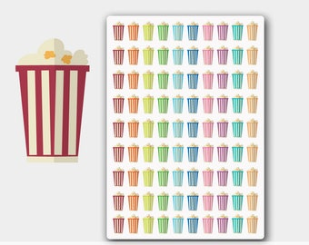 Popcorn Planner Stickers, Movie Night Stickers