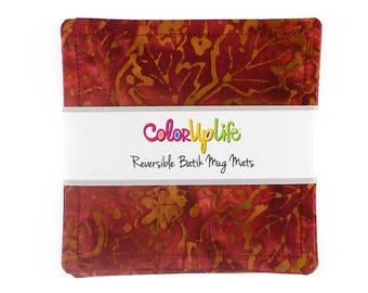 Fabric Coasters - Set of 4 - Rust - mug mats - reversible coasters - stocking stuffers - hostess gift