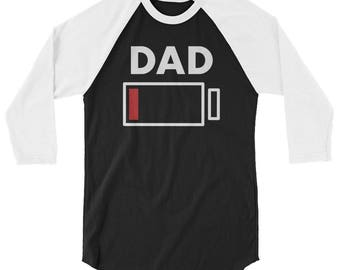 Dad Battery Charge Drained Funny Graphic Style 3/4 sleeve raglan shirt