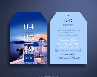 ALEXA Luggage Tag Save the Date Invitation for a Wedding in Greece (Oversized)