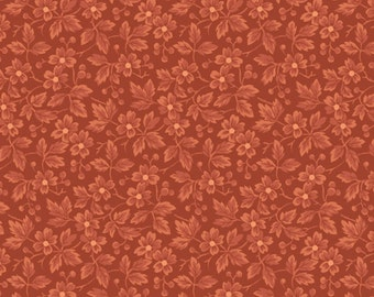 Chrysanthemum Collection Red Rust Blender Floral Maywood Quilt Fabric by the 1/2 yard
