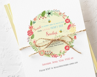 Birthday Party Invitations - Our Little Honey Bee, Girl's Birthday (Style 13376)