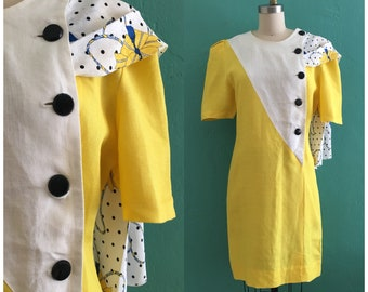 vintage 80's yellow shirt dress with printed scarf