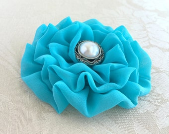 Turquoise Flower Hair Clip.Turquoise Flower Brooch.Pin.Turquoise Hair Piece.Bridesmaid accessory.chiffon flower headpiece.hair accessory