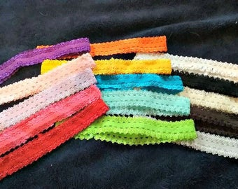 Girls Lace headbands 15 colors available hair accessory making diy supply elastic hair band for infants to small girls soft and lacy edging