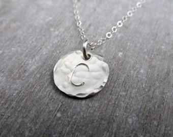 Silver initial Necklace, Hand Stamped Sterling Silver Initial Necklace, Hammered Charm