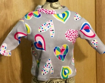 Hearts, 3/4 sleeve knit t-shirt fits 18 inch dolls like American girl dolls, 18 inch doll shirt, t-shirt for dolls, 18 inch doll clothes, do